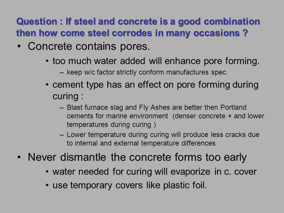 Concrete contains pores.