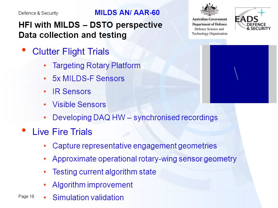 HFI with MILDS – DSTO perspective Data collection and testing
