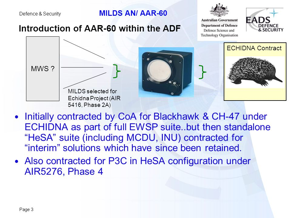 Introduction of AAR-60 within the ADF