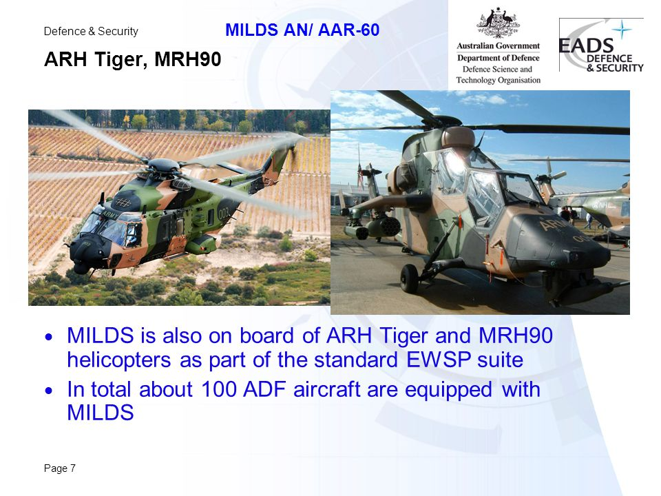 In total about 100 ADF aircraft are equipped with MILDS
