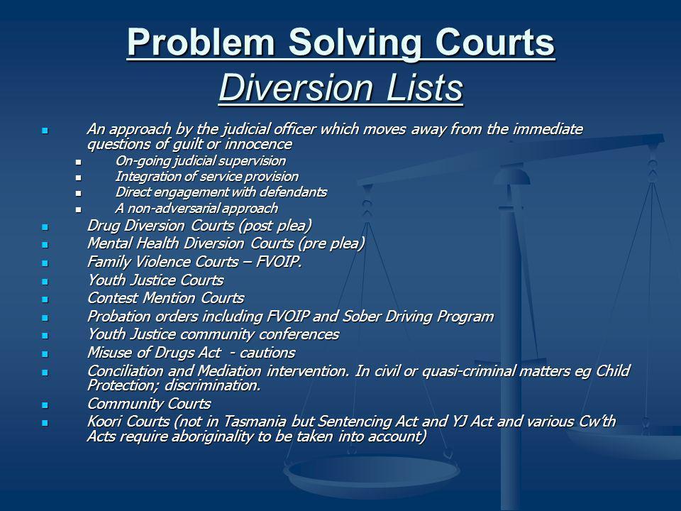 Problem Solving Courts Diversion Lists