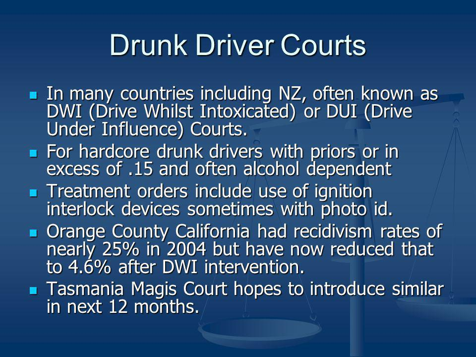 Drunk Driver Courts In many countries including NZ, often known as DWI (Drive Whilst Intoxicated) or DUI (Drive Under Influence) Courts.