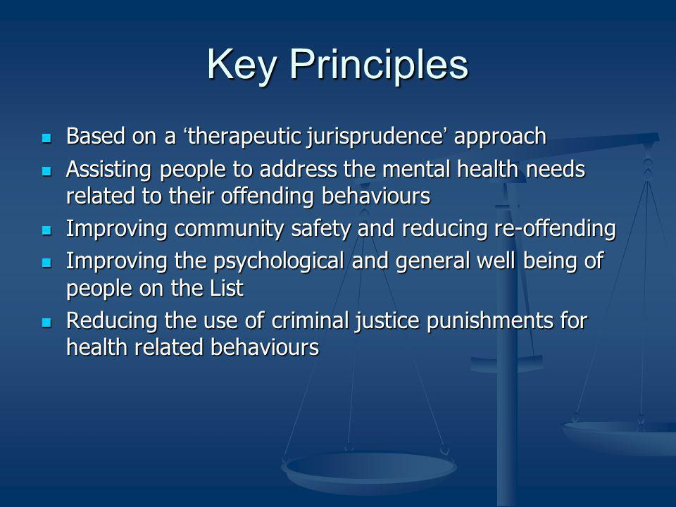 Key Principles Based on a 'therapeutic jurisprudence' approach