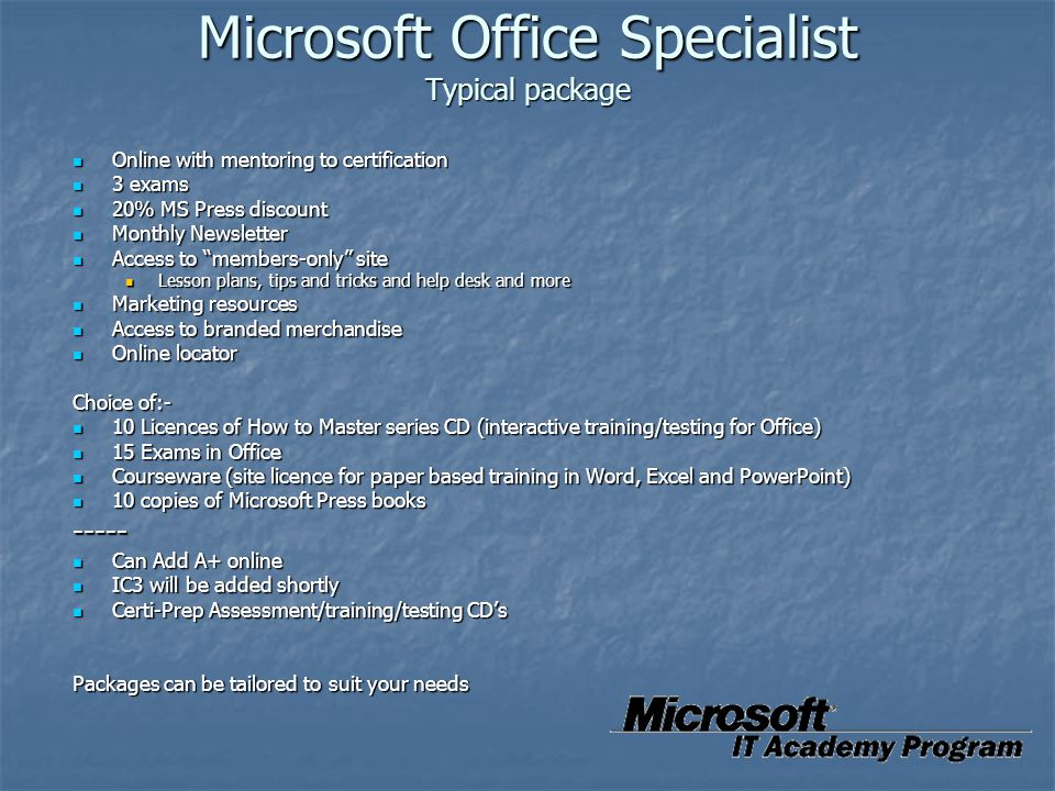 Microsoft Office Specialist Typical package