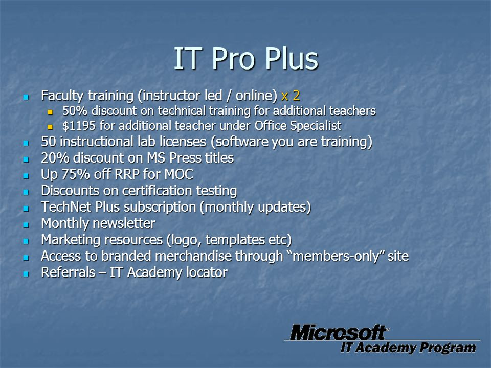 IT Pro Plus Faculty training (instructor led / online) x 2