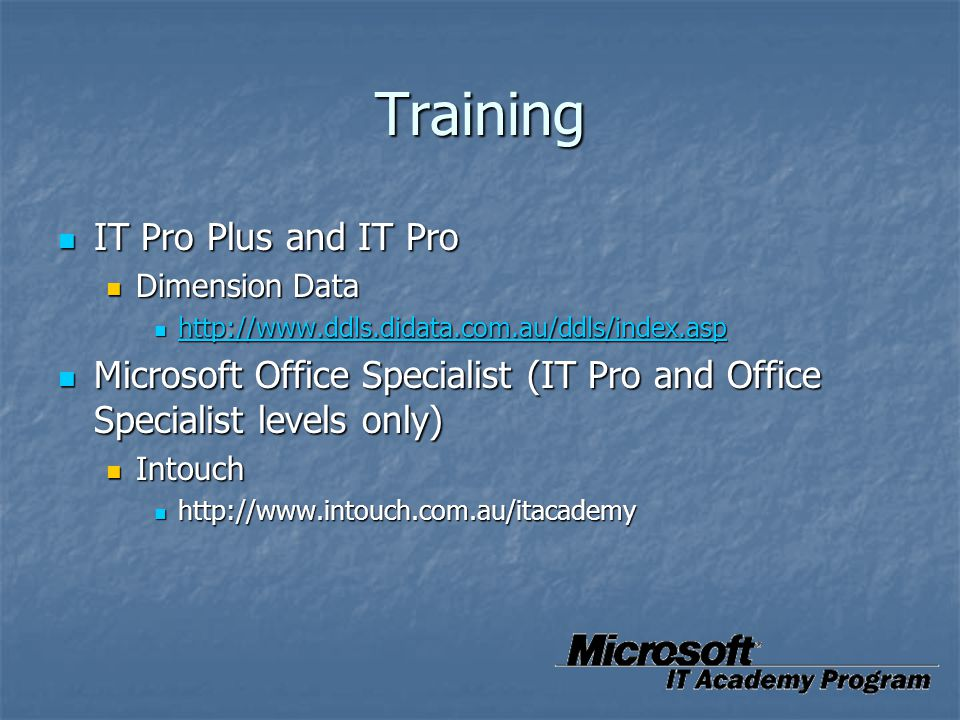 Training IT Pro Plus and IT Pro