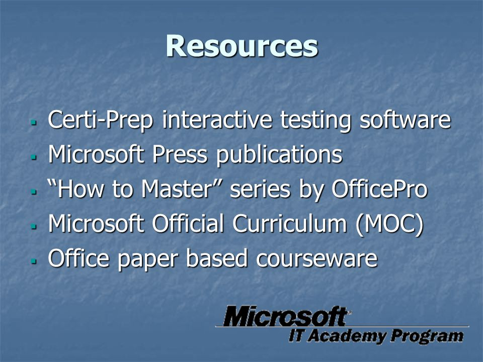 Resources Certi-Prep interactive testing software