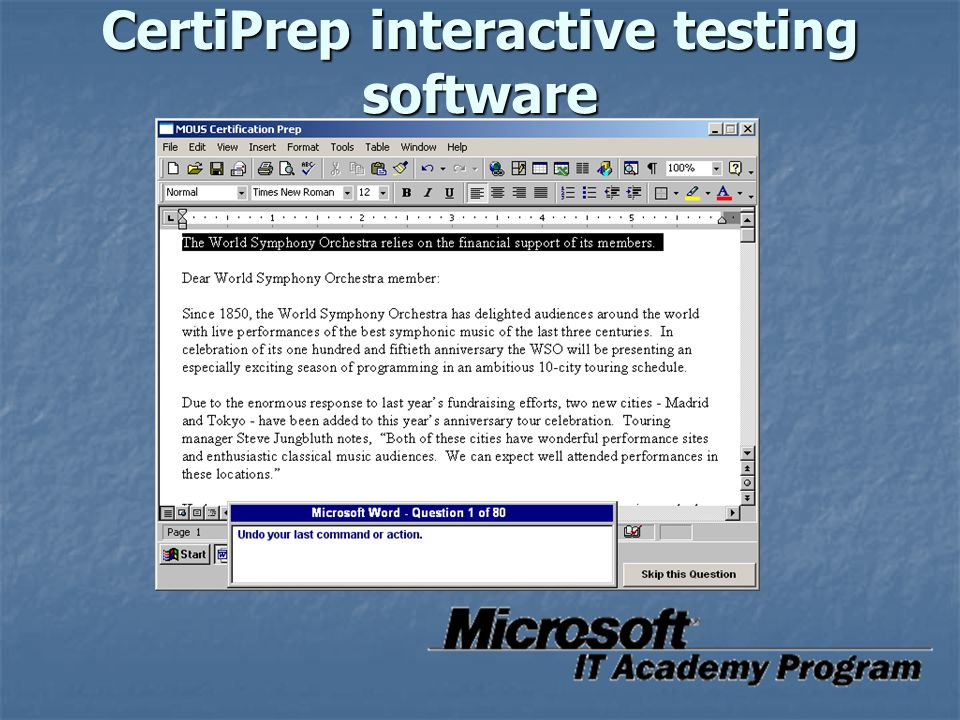 CertiPrep interactive testing software
