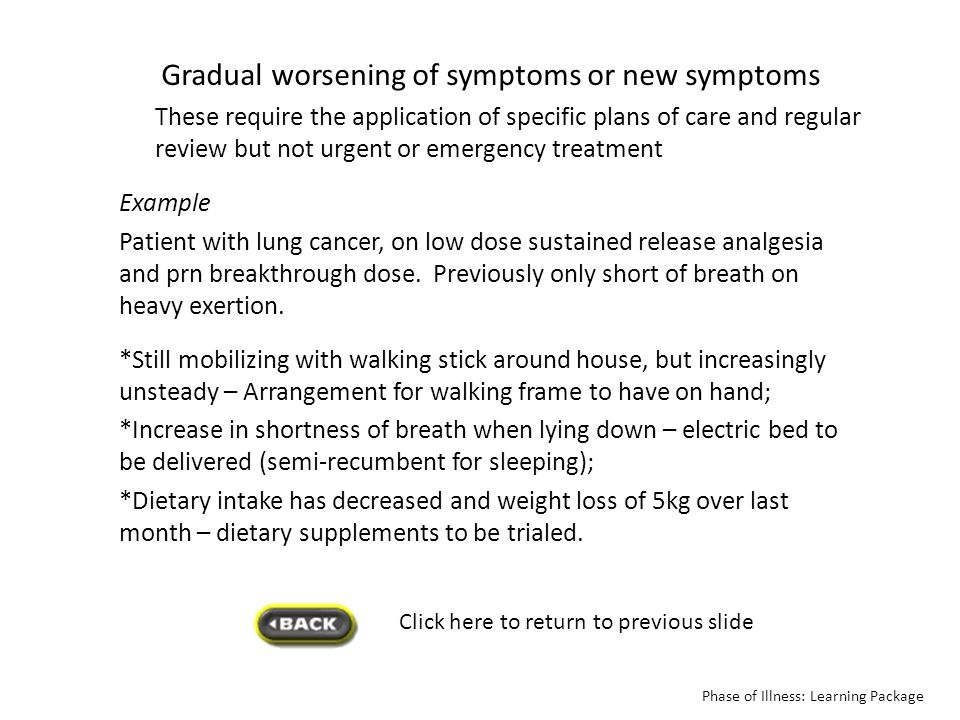 Gradual worsening of symptoms or new symptoms