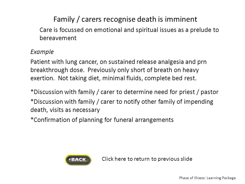 Family / carers recognise death is imminent