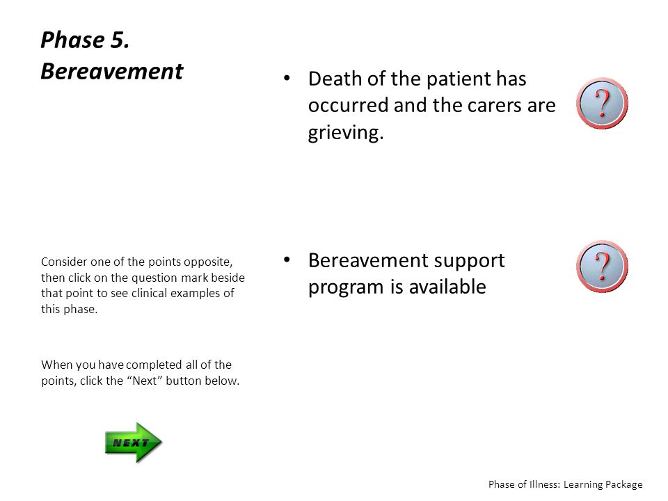 Phase 5. Bereavement Death of the patient has occurred and the carers are grieving. Bereavement support program is available.