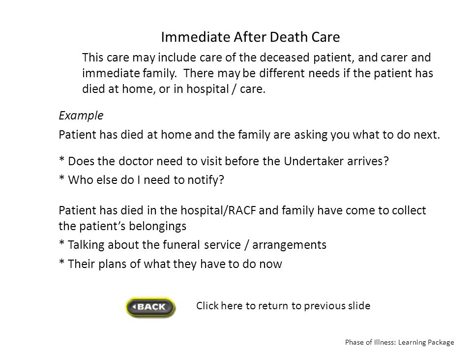 Immediate After Death Care