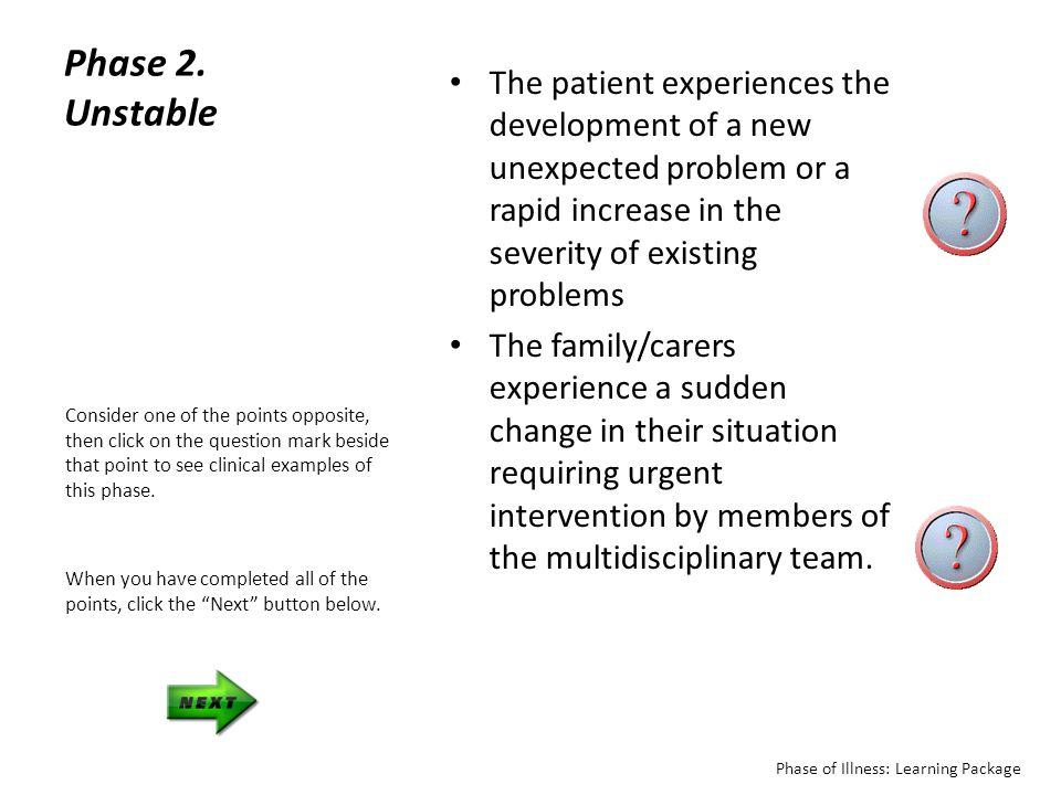 Phase 2. Unstable The patient experiences the development of a new unexpected problem or a rapid increase in the severity of existing problems.