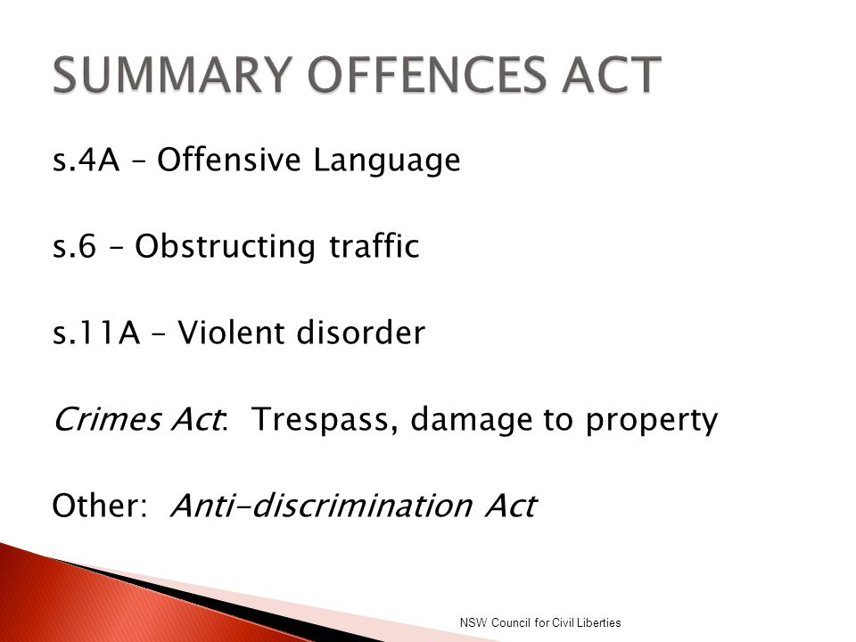 SUMMARY OFFENCES ACT
