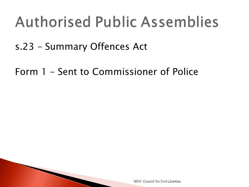 Authorised Public Assemblies