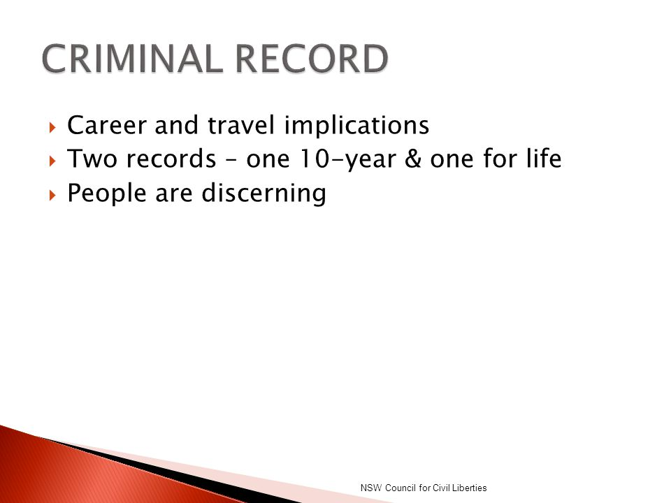 CRIMINAL RECORD Career and travel implications