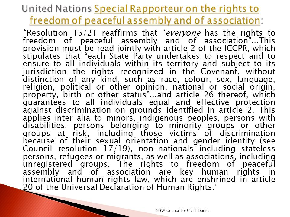 United Nations Special Rapporteur on the rights to freedom of peaceful assembly and of association: