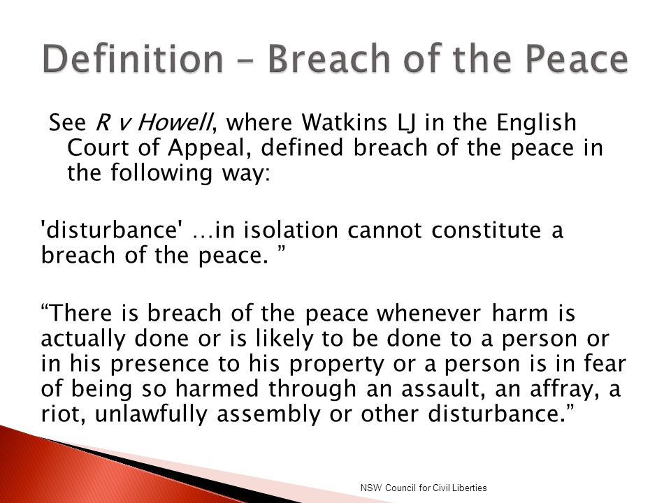 Definition – Breach of the Peace