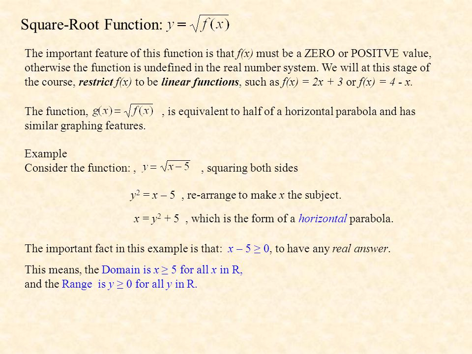 Square-Root Function: