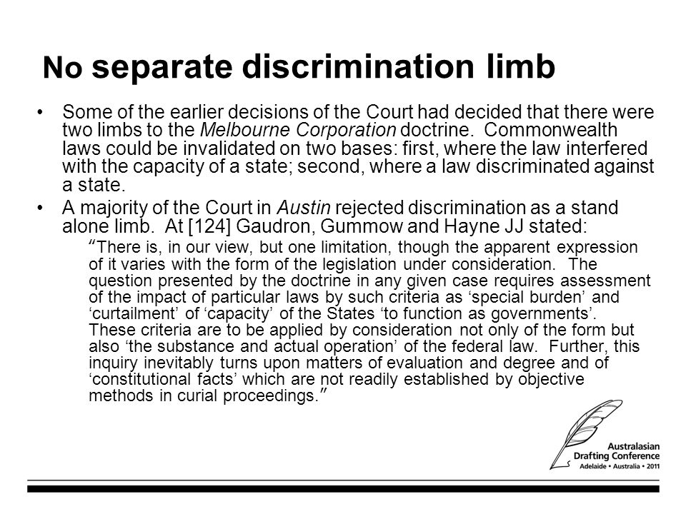 No separate discrimination limb