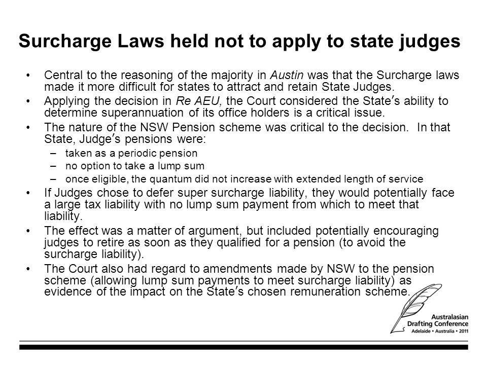 Surcharge Laws held not to apply to state judges