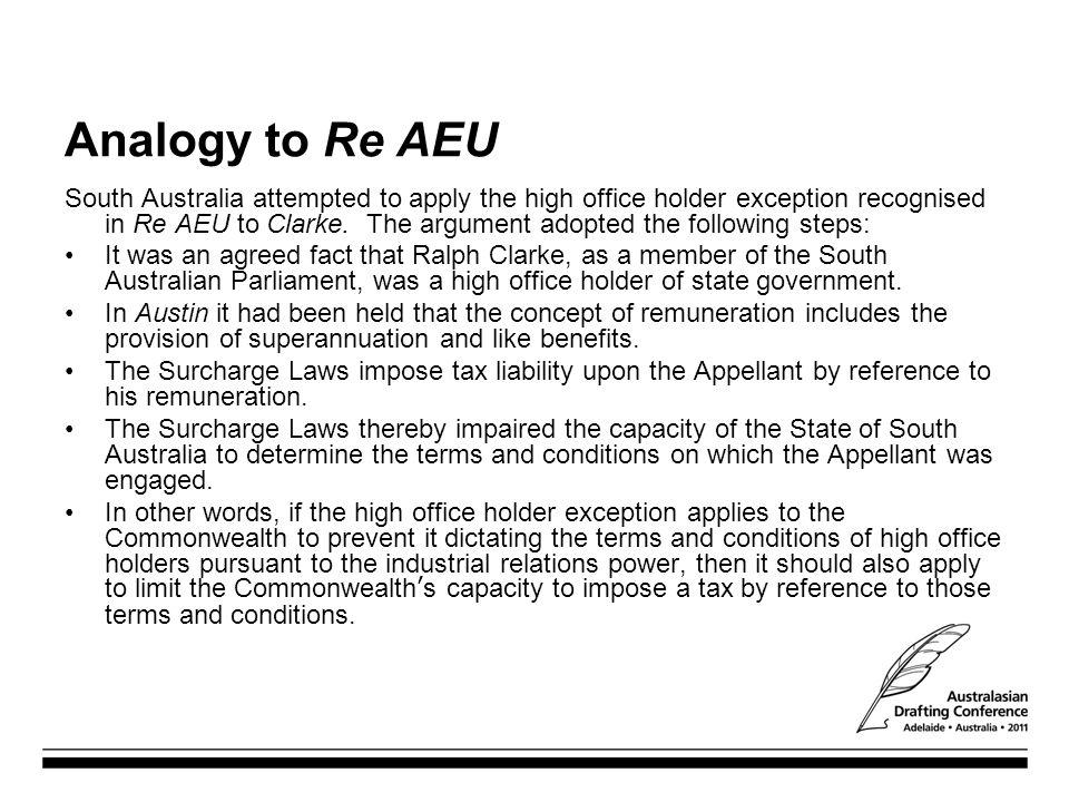 Analogy to Re AEU