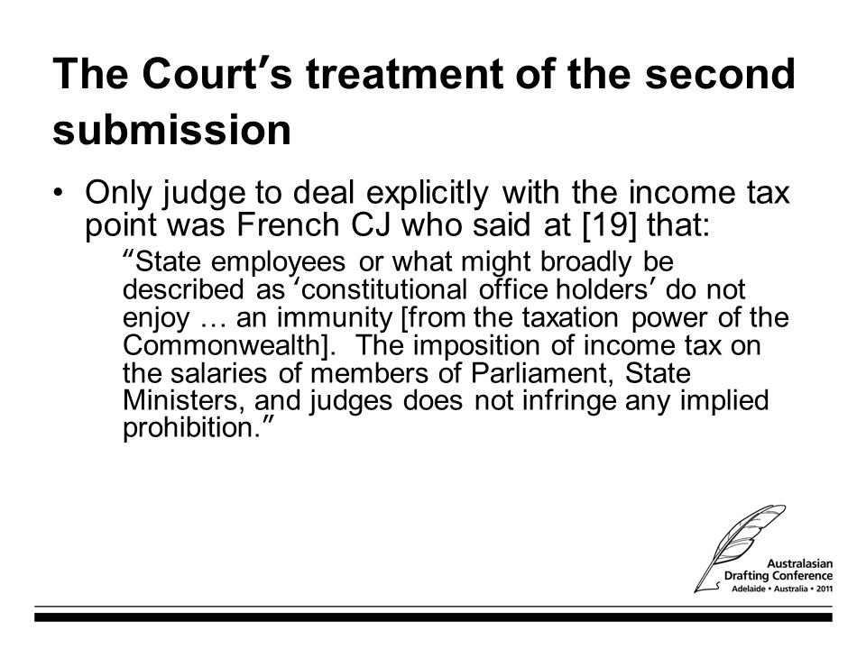 The Court's treatment of the second submission
