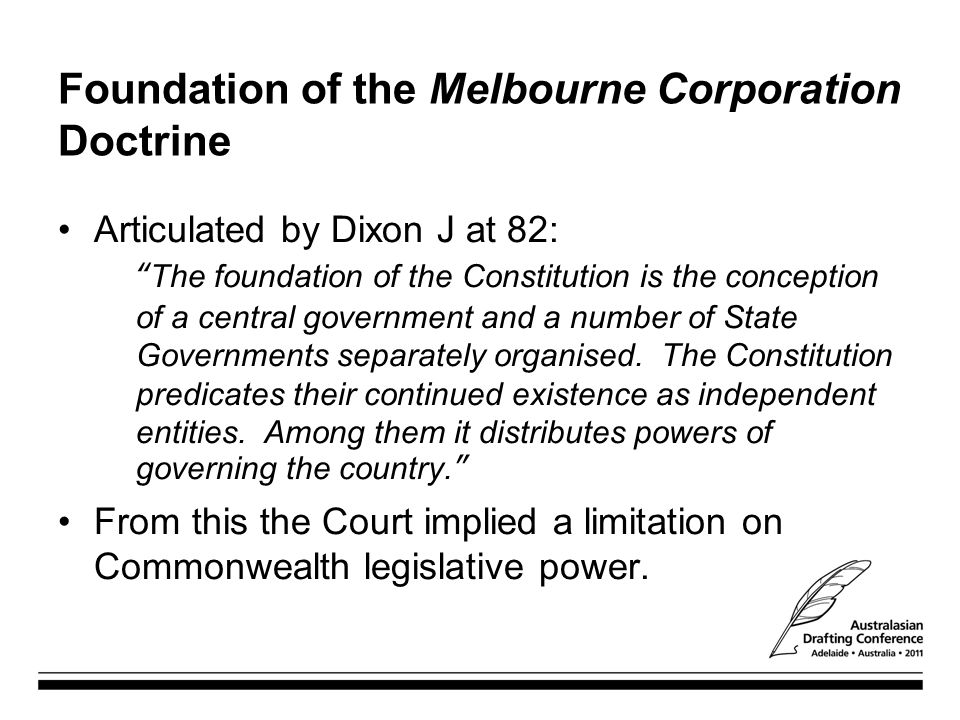 Foundation of the Melbourne Corporation Doctrine