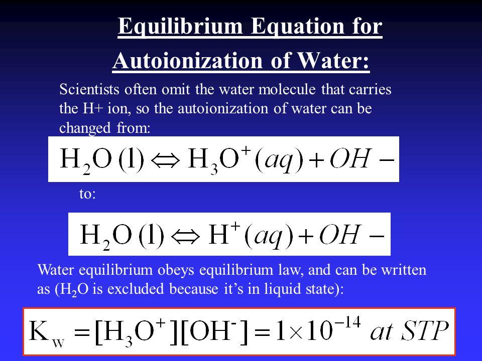 Autoionization of Water:
