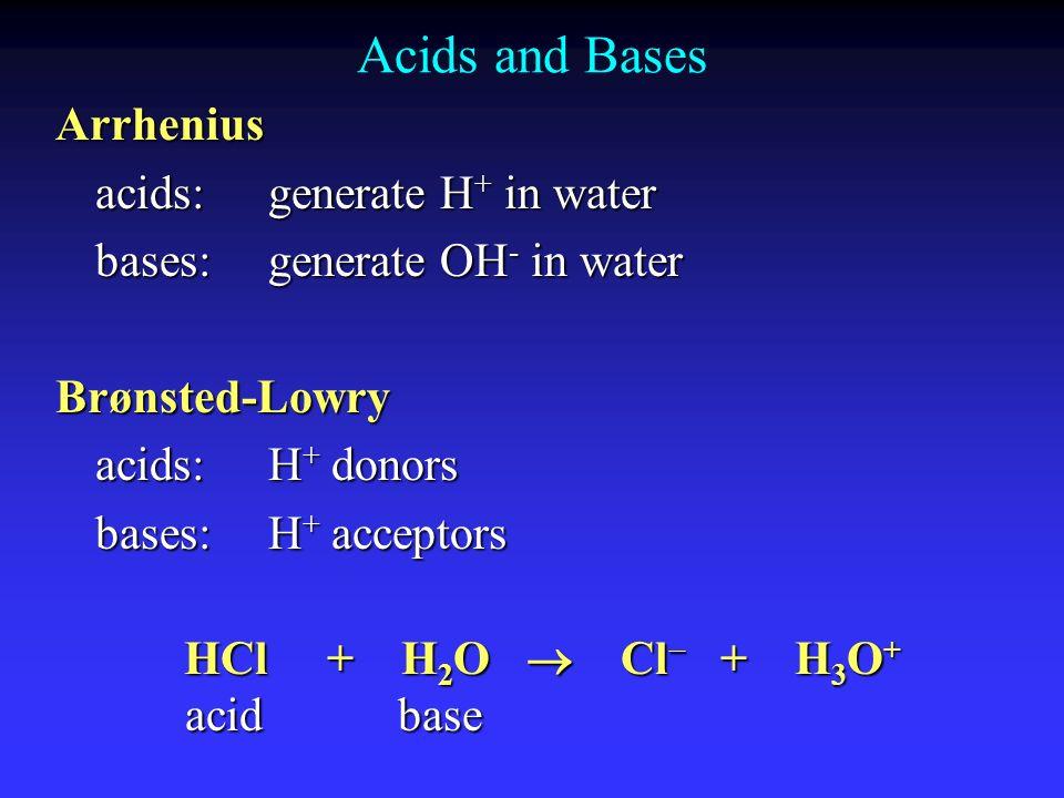 Acids and Bases Arrhenius acids: generate H+ in water
