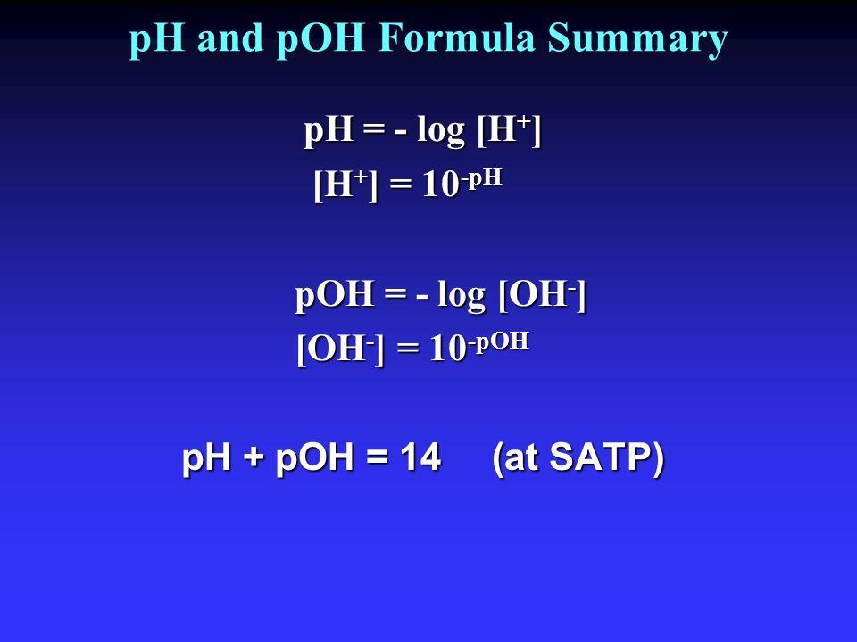 pH and pOH Formula Summary