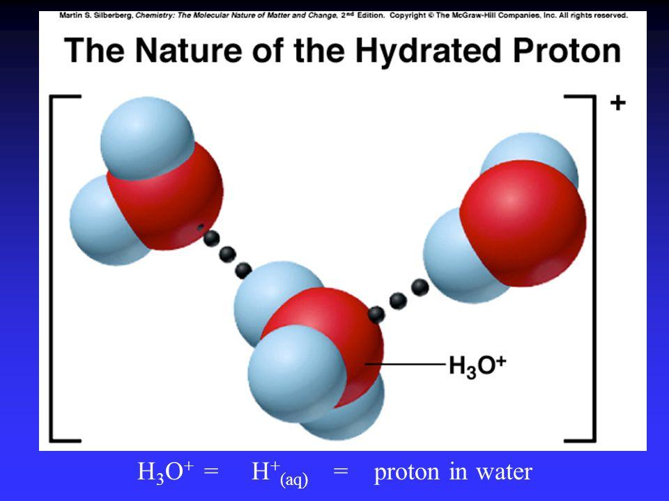 H3O+ = H+(aq) = proton in water