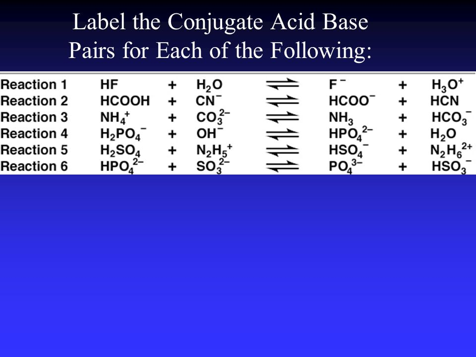Label the Conjugate Acid Base Pairs for Each of the Following: