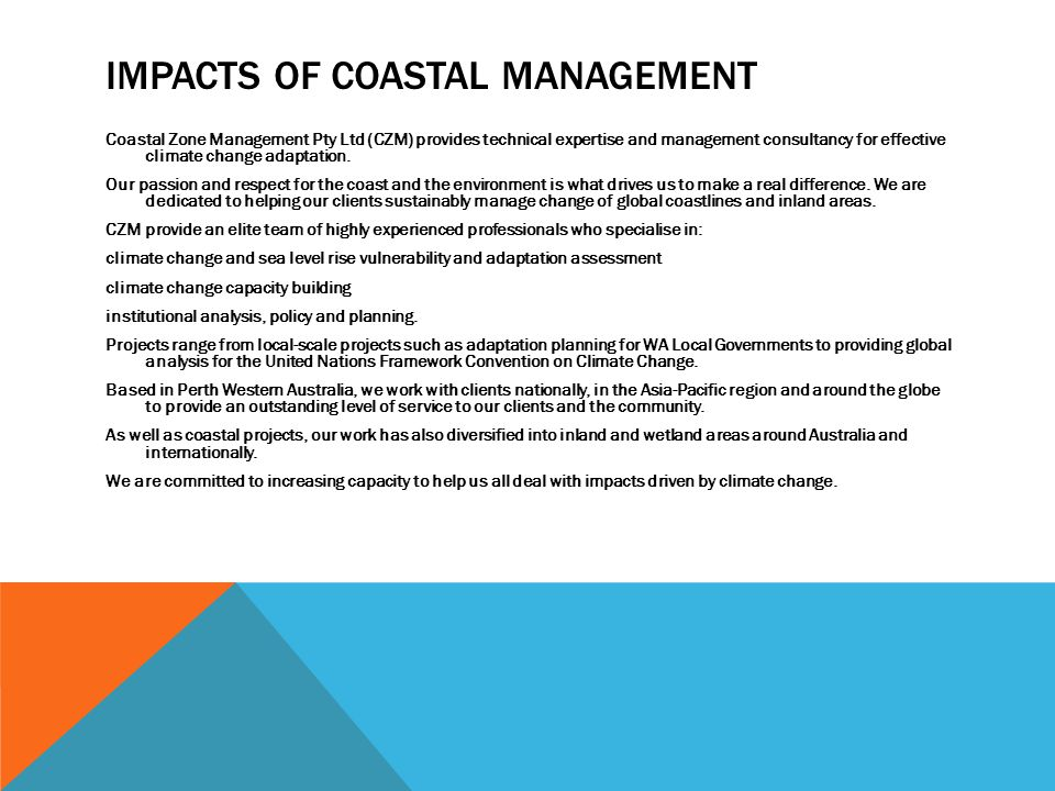 Impacts of coastal management
