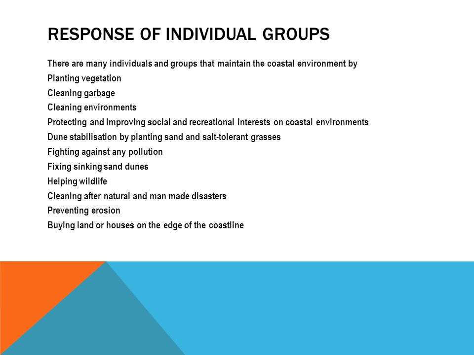 Response of individual groups