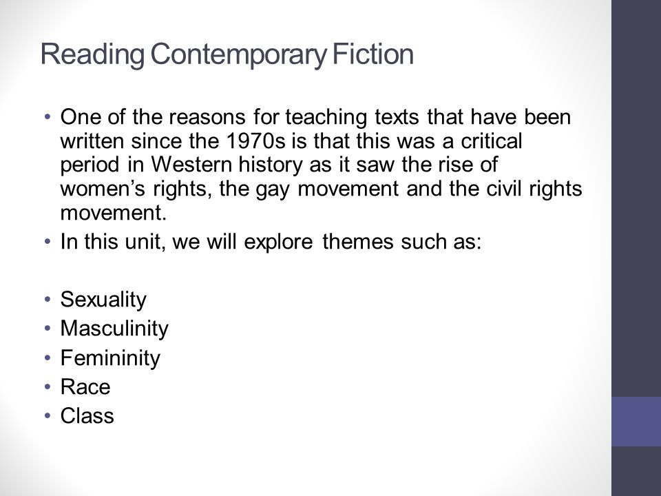 Reading Contemporary Fiction