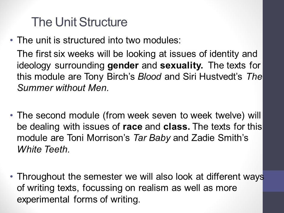 The Unit Structure The unit is structured into two modules: