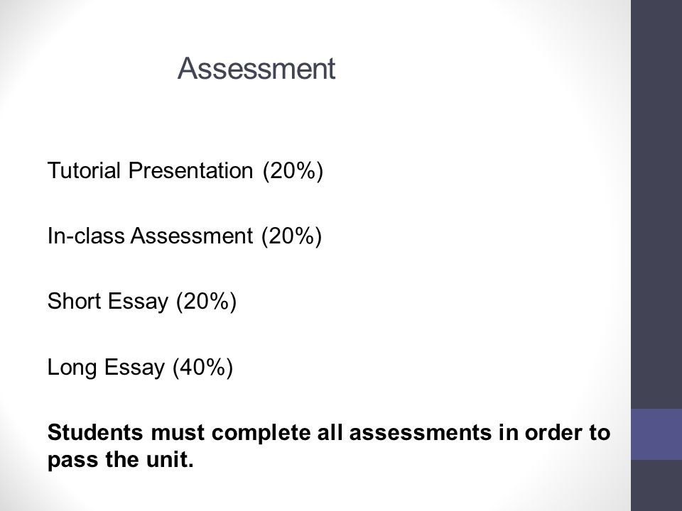 Assessment Tutorial Presentation (20%) In-class Assessment (20%)