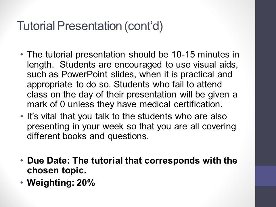 Tutorial Presentation (cont'd)