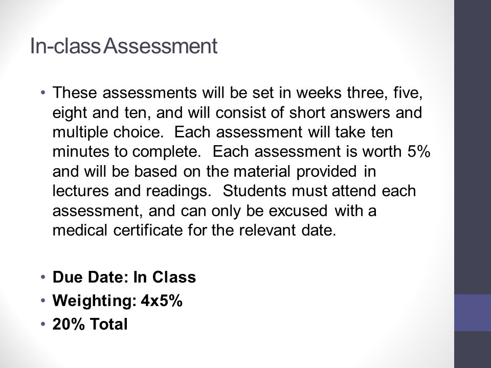In-class Assessment