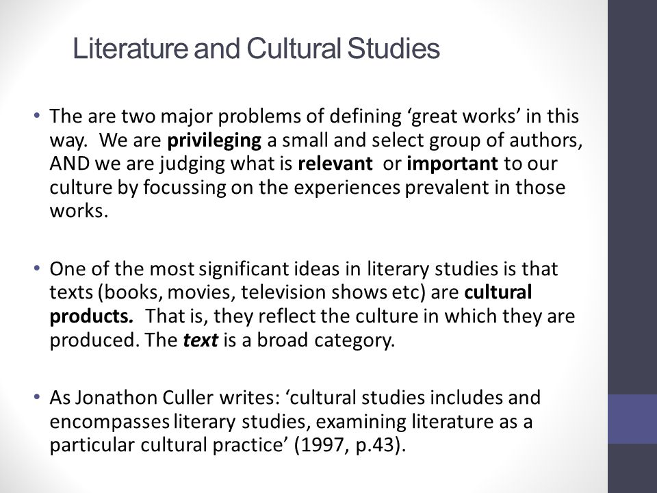 Literature and Cultural Studies