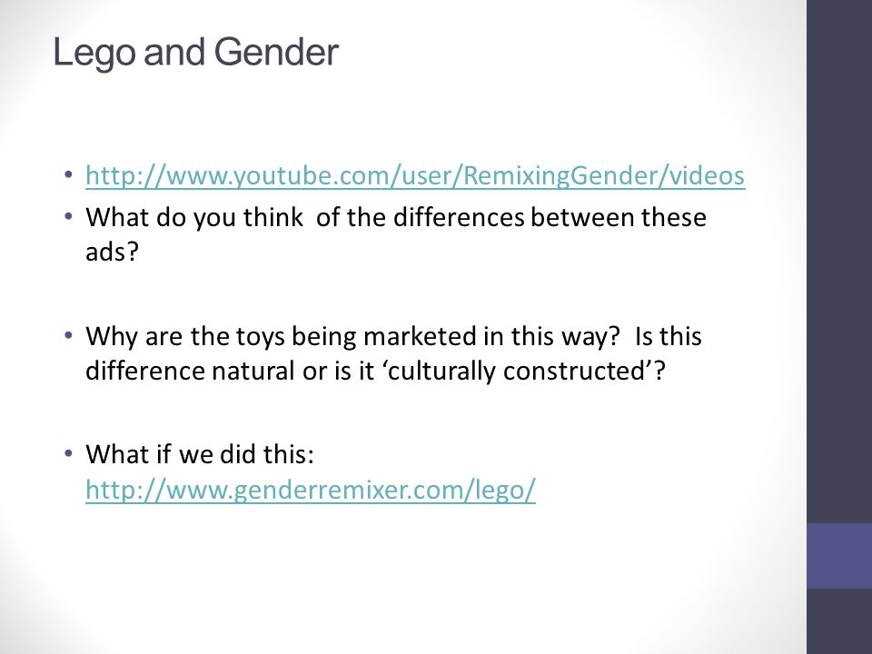 Lego and Gender http://www.youtube.com/user/RemixingGender/videos