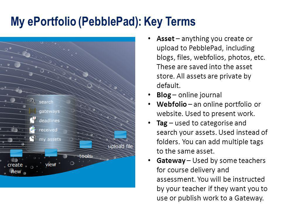 My ePortfolio (PebblePad): Key Terms