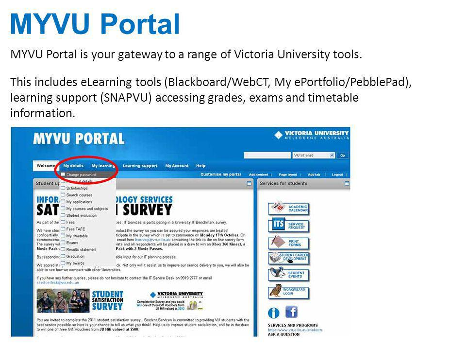 MYVU Portal MYVU Portal is your gateway to a range of Victoria University tools.