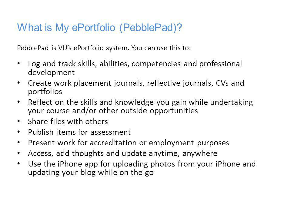 What is My ePortfolio (PebblePad)