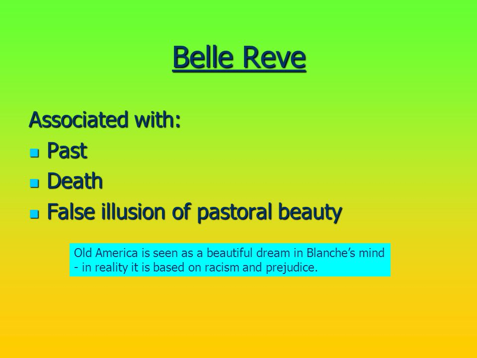 Belle Reve Associated with: Past Death
