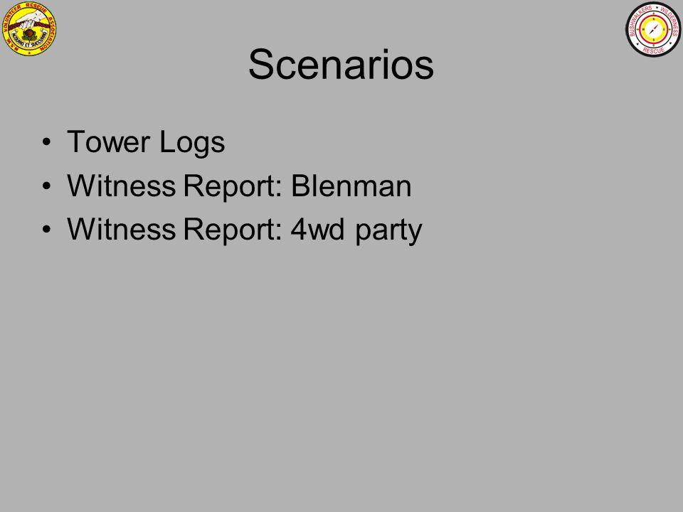 Scenarios Tower Logs Witness Report: Blenman Witness Report: 4wd party