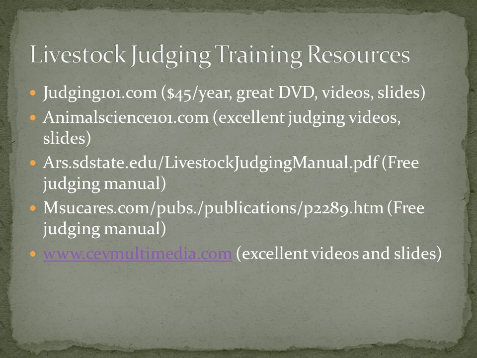 Livestock Judging Training Resources