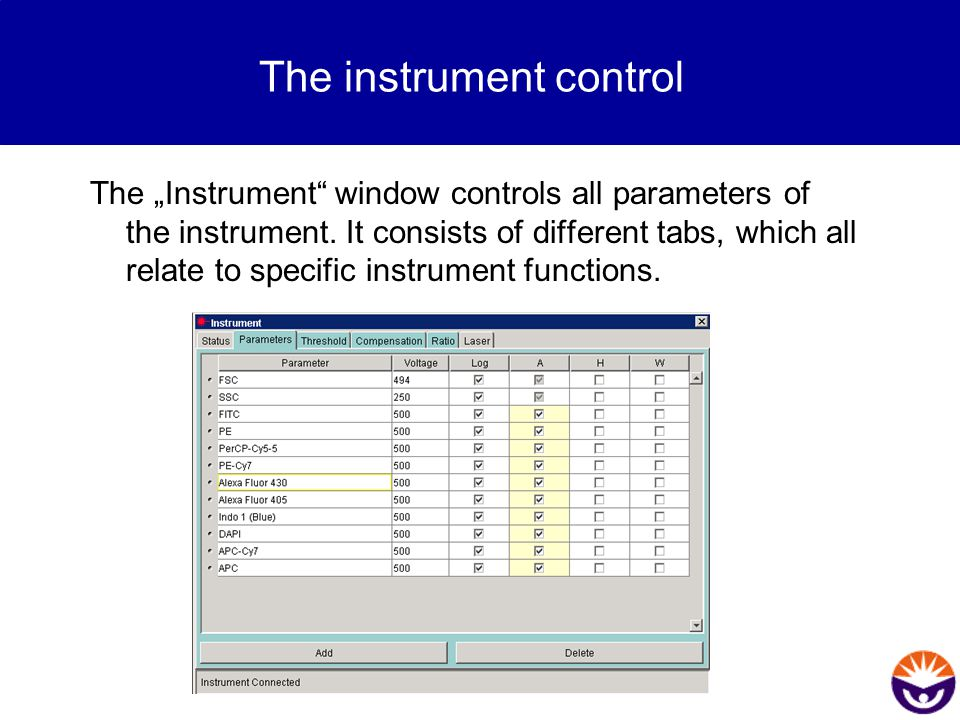 The instrument control