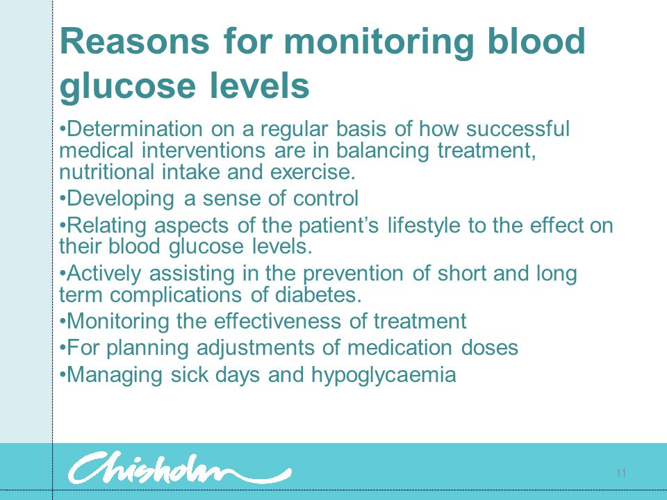 Reasons for monitoring blood glucose levels